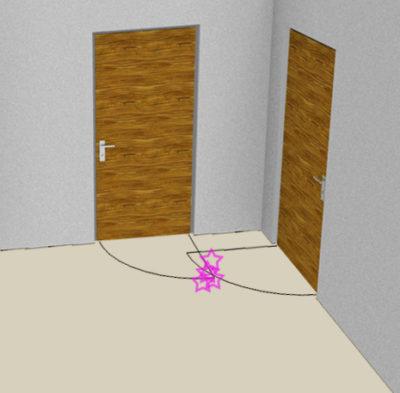Konflikt dveřních křídel, schematický obrázek
