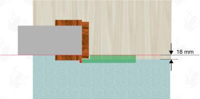 Pozice podlahových krytin v prostoru dveřního otvoru