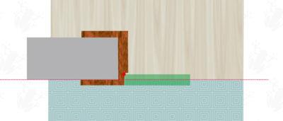Pozice různých podlahových krytin ve stavebním otvoru pro vnitřní dveře
